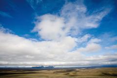 Stock Photo of Clouds over barren landscape, Sprengisandur region, Iceland