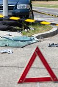 warning triangle after car accident - stock photo