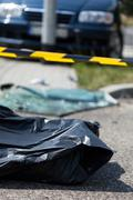 Corpse after car accident Stock Photos