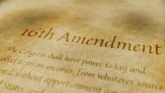 Stock Video Footage of Historic Document 16th Amendment