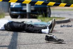 Male victim of car accident Stock Photos