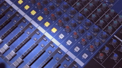Editor audio sound board , recording the voice in the music film studio Stock Footage