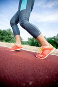 Closeup of a women's running shoe Stock Photos