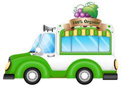 A green vehicle selling organic fruits Stock Illustration