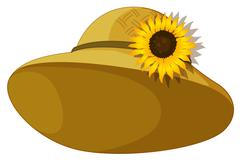 A fashionable hat with a sunflower - stock illustration