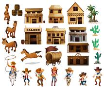 Stock Illustration of Western cowboys