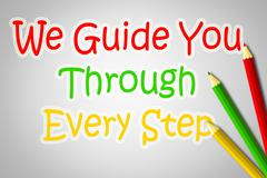 we guide you through every step concept - stock illustration