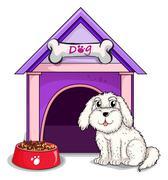 A dog outsite the purple house - stock illustration