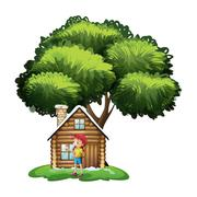 Stock Illustration of A house under the tree with a little girl playing