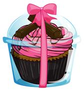 A cupcake with a pink icing - stock illustration