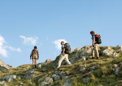 Spain, Catalonia, hikers Stock Photos