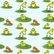Seamless design of the frogs at the pond - stock illustration