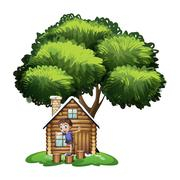 Stock Illustration of A boy playing outside the house under the tree