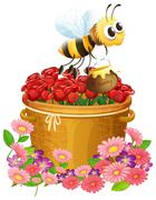 A basket of red roses and a bee with a pot of honey Piirros