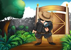 A detective at the backyard - stock illustration