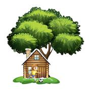 Stock Illustration of A girl playing soccer outside the house