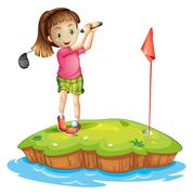 A cute little girl golfing Stock Illustration