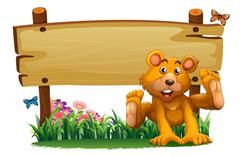 A playful bear near the empty wooden signboard - stock illustration