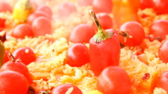 Pilaf  with tomato and red pepper Stock Footage