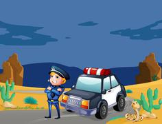 A smiling policeman beside the patrol car - stock illustration