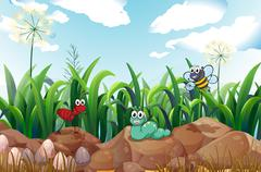 Stock Illustration of Insects above the rocks