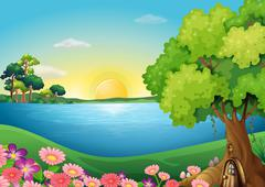 Fresh flowers at the riverbank near the treehouse - stock illustration