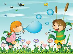 Kids at the garden playing with the blowing bubbles - stock illustration
