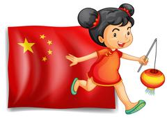 The flag of China at the back of the young Chinese - stock illustration