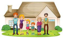 A family outside their big house Stock Illustration