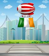 A floating balloon with the Ireland flag Stock Illustration