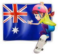A girl skateboarding in front of the Australian flag - stock illustration