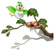 Stock Illustration of A cute bird at the branch of a tree with a nest