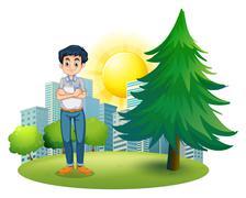 A man standing near the pine tree Stock Illustration