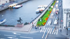 Nevsky Prospect Saint Petersburg Evening Tilt-Shift Time Lapse Stock Footage