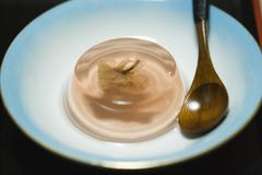 Cherry blossom flavored agar agar jelly dessert Stock Photos