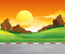 A beautiful landscape and the bright sun in the sky - stock illustration