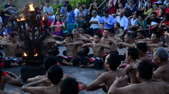 Kecak dance (Balinese ritual dance) performed in Uluwatu Temple Stock Footage