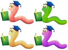 Worms reading - stock illustration