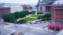 Saint Isaac's Squaret Saint Petersburg Evening Tilt-Shift Time Lapse - stock footage