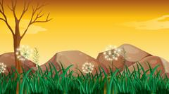 Stock Illustration of Big rocks near the tree without leaves