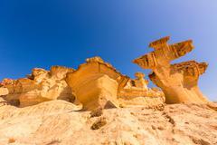 bolnuevo mazarron eroded sandstones murcia - stock photo