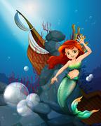 Stock Illustration of A sea with a mermaid near the wrecked boat