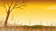 A landscape with a dying tree Stock Illustration