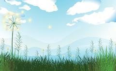 Tall grasses under the blue sky Stock Illustration