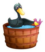Stock Illustration of A bird watching the duck above the pail
