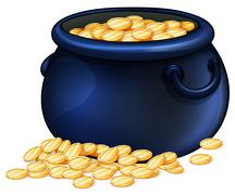 A pot of gold coins Stock Illustration