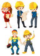 Hardworking people - stock illustration