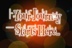 your journey starts here concept - stock illustration
