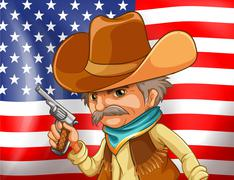 Stock Illustration of US flag and cowboy