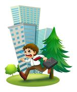 A late man running hurriedly - stock illustration